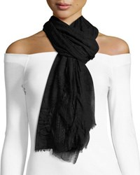 Neiman Marcus Lace Insert Crinkled Scarf Black