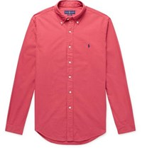 Polo Ralph Lauren Slim Fit Button Down Collar Garment Dyed Cotton Oxford Shirt Red