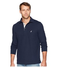 Nautica Long Sleeve Solid Polo Navy Long Sleeve Pullover