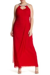 Marina Embellished Collar Gown Plus Size Red