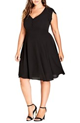City Chic Plus Size Button Fit And Flare Dress Black