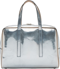 Calvin Klein Silver Metallic Leather Briefcase