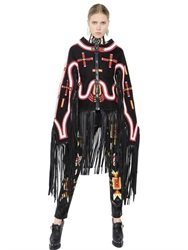 Ktz Fringed Embroidered Faux Suede Cape