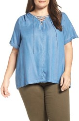 Lucky Brand Plus Size Women's Lace Up Chambray Top