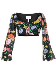Alice Mccall Floral Picasso Top Black