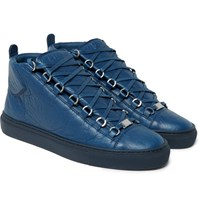 Balenciaga Arena Creased Leather High Top Sneakers Navy