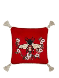 Gucci Bee Embroidered Velvet Pillow Red Multi