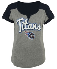 5Th And Ocean Women's Tennessee Titans Rolled Sleeve T Shirt Gray Navy