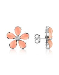 Del Gatto Diamond Gemstone Flower 18K Gold Earrings Pink Coral