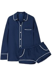 Three J Nyc Emily Silk Charmeuse Pajama Set Navy