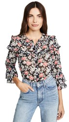 Shoshanna Mamie Top Jet Gold Currant Red Multi