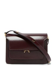 Marni Trunk Medium Leather Shoulder Bag Burgundy