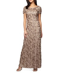 Alex Evenings Rosette Shimmer Gown Champagne