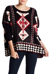 Romeo And Juliet Couture Long Sleeve Geo Pattern Sweater Black