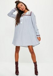 Missguided Blue Oversized Striped Embroidered Yoke Swing Dress