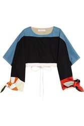 Chloe Cropped Color Block Cotton Twill Top Navy