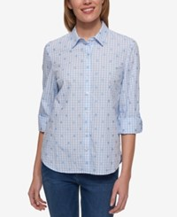 Tommy Hilfiger Gingham Print Roll Tab Sleeve Shirt Only At Macy's Oxford Blue White