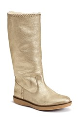 Women's Trask 'Ariana' Genuine Shearling Boot Gold Calfskin