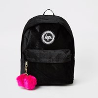 Hype Black Velour Pom Pom Backpack
