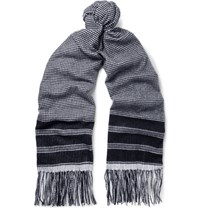Begg And Co Arran Patterned Cashmere Scarf Blue