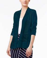 Alfani Petite Mixed Stitch Open Front Cardigan Only At Macy's Alfani Teal