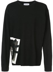Rochambeau Side Graphic Print Top Black