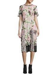 Coach Floral Sheer Panel Dress Pink Multicolor