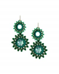 Panacea Crocheted Crystal Circle Double Drop Earrings Green