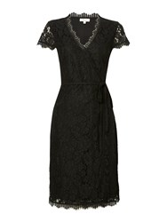Linea Lace Wrap Dress Black