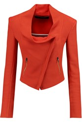 Roland Mouret Mensa Cotton Pique Biker Jacket Orange