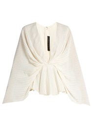 Elie Saab Striped V Neck Georgette Kimono Top White Multi