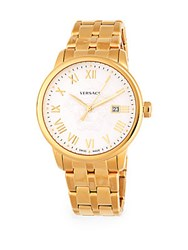 Versace Stainless Steel Leather Strap Watch Gold Black