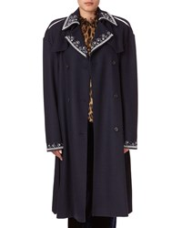 Magda Butrym Amur Beaded Large Shoulder Trench Coat Blue