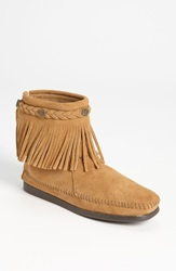 Minnetonka Back Zip Ankle Boot Taupe