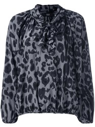 Steffen Schraut Animal Print Bow Neck Blouse Grey