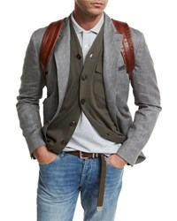 Brunello Cucinelli Deconstructed Herringbone Sport Jacket Gray