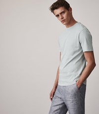 Reiss Bertie Acid Washed T Shirt In Soft Blue