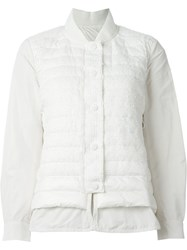 Moncler Tweed Front Padded Jacket White
