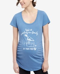 Motherhood Maternity Graphic T Shirt Dusty Blue