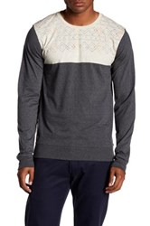Micros Jerome Long Sleeve Colorblocked Graphic Tee Beige