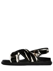 Marni 30Mm Crisscross Pony Leather Flat Sandal Black
