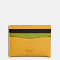 Coach Flat Card Case In Colorblock Glovetanned Leather Dk Flax Citrine Black