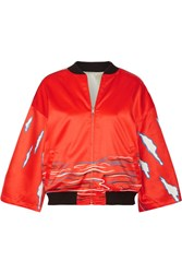 Opening Ceremony Reversible Printed Silk Satin Bomber Jacket Tomato Red