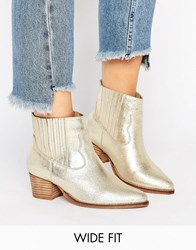 Asos Ranger Wide Fit Leather Western Boots Gold