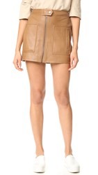 Helmut Lang Chintz Leather Miniskirt Caramel