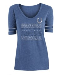 5Th And Ocean Indianapolis Colts Tri Blend Foil Sleeve Stripe T Shirt Blue