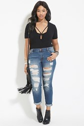 Forever 21 Plus Size Distressed Jeans Denim Washed