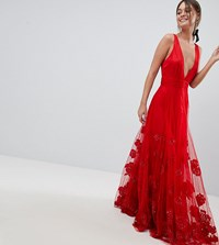 A Star Is Born Maxi Prom Dress With Embellishment And Embroidery Red
