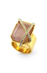 Women's Louise Et Cie Stone And Crystal Ring Gold Rose Crystal
