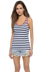 Three Dots Riviera Stripe Rocker Tank Night Iris